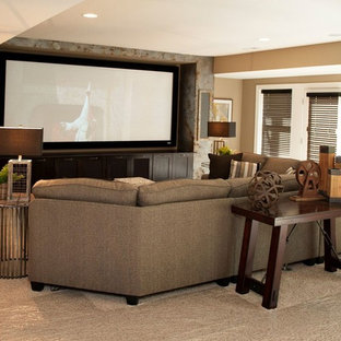 Mid-sized transitional open concept brown floor family room photo in Orange County with brown walls, no fireplace and a wall-mounted tv