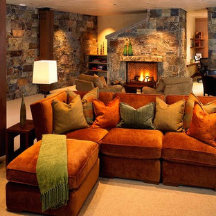 Example of a minimalist family room design in Denver