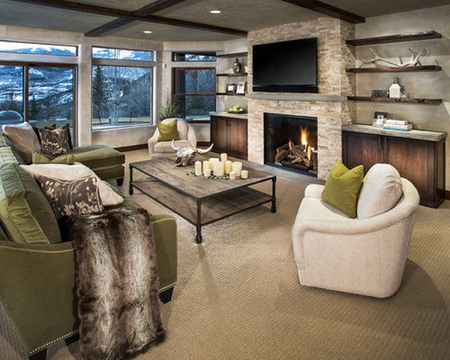 Mid-sized trendy open concept carpeted and beige floor family room photo in  Denver with