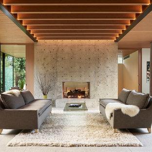 Cette photo montre une salle de séjour moderne ouverte avec un mur gris, une cheminée double-face et un manteau de cheminée en béton.