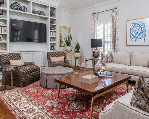 Best Traditional Living Room Design Ideas   Remodel Pictures   Houzz Elegant living room photo in Atlanta with white walls  dark hardwood  floors  a wall. Traditional Living Room Design Ideas. Home Design Ideas