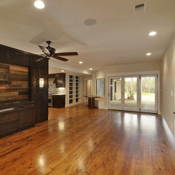 """House+Earth Reclaimed Antique Texas Pine - 8"""" Reclaimed Antique Pine on floors, reclaimed barntop oak on accents"""