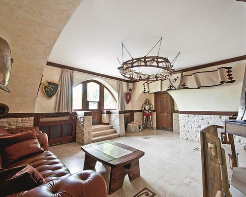 Eclectic Family Room Idea In Moscow With Beige Walls Part 56