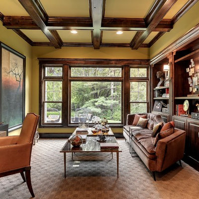 Family room - transitional family room idea in Minneapolis with green walls
