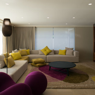 Family room - contemporary open concept limestone floor family room idea in Sydney with a wall-mounted tv