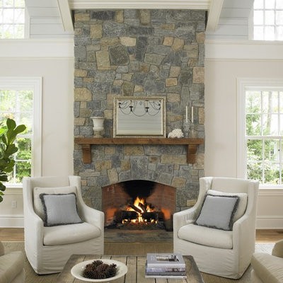 Inspiration for a timeless family room remodel in New York with white walls