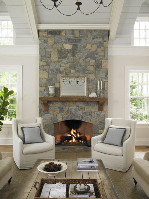 Charming Inspiration For A Timeless Family Room Remodel In New York With White Walls