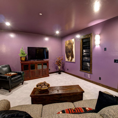 Mid-sized mountain style enclosed carpeted family room photo in Other with a music area, purple walls, a tv stand and no fireplace