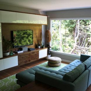 Esempio di un soggiorno minimal di medie dimensioni e aperto con pareti grigie, pavimento in legno massello medio e TV a parete