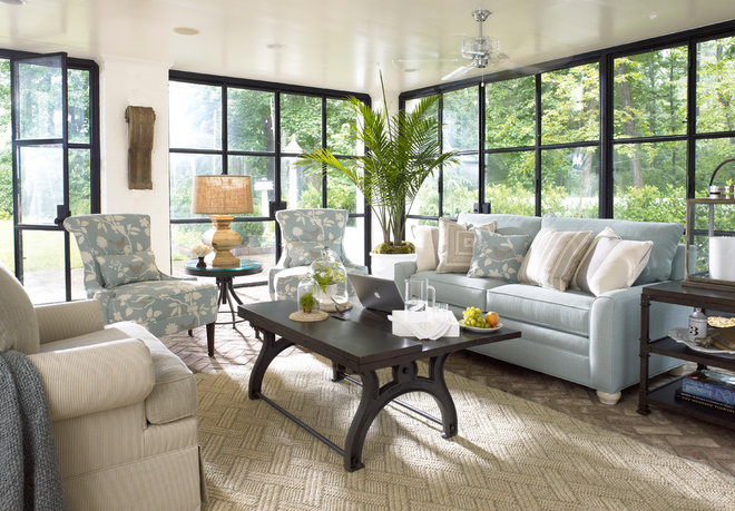 Industrial Family Room In Atlanta Homes with Thomasville Furniture