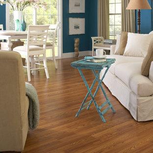 デンバーの大きいコンテンポラリースタイルのおしゃれなファミリールーム (ライブラリー、青い壁、ラミネートの床) の写真