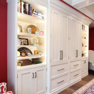 Inset Cabinets Painted White with a Glaze used for Built Ins in Red Family Room