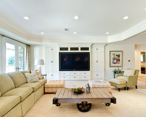 family room ideas with tv. Large transitional carpeted family room idea in Atlanta with beige walls  and a media wall Big Tv Family Room Ideas Photos Houzz