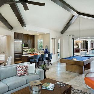 Ispirazione per un ampio soggiorno contemporaneo con pareti bianche, pavimento con piastrelle in ceramica e sala giochi