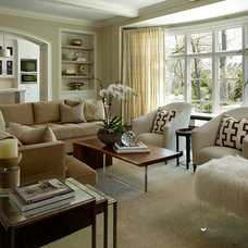 Transitional Family Room by Reynolds Architecture- Design & Construction