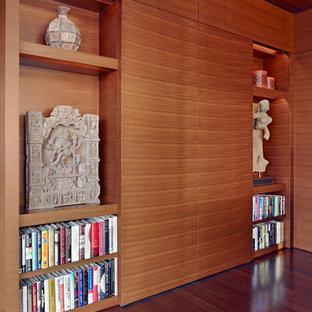 Family room - asian dark wood floor family room idea in San Francisco