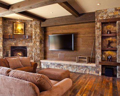 Mid-sized rustic open concept dark wood floor and brown floor family room  idea in