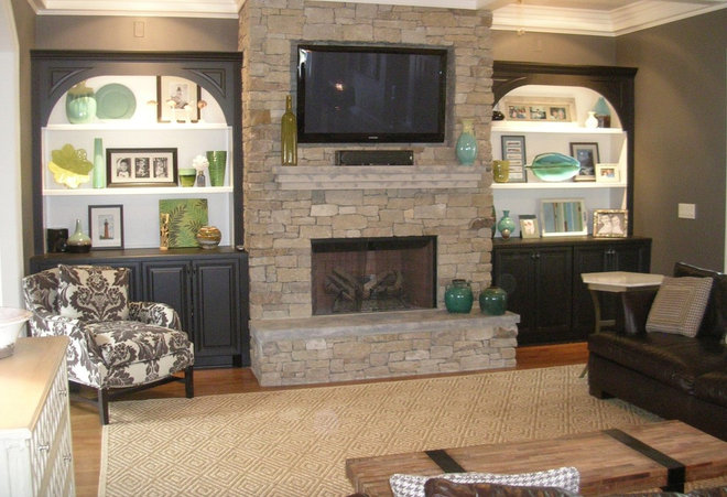 Eclectic Family Room by Charles Luck Stone Center