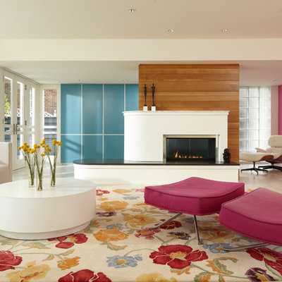 Example of a trendy family room design in Minneapolis with multicolored walls