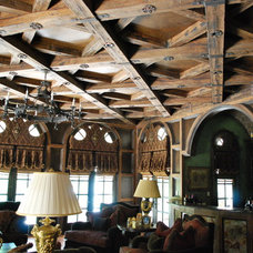 Mediterranean Family Room by Green Valley Beam & Truss Co.