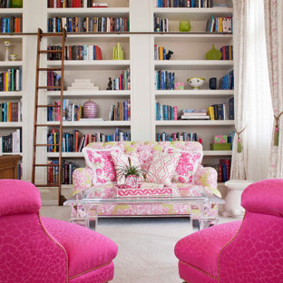 Inspiration for a timeless enclosed carpeted, beige floor and coffered ceiling family room library remodel in Miami with white walls, no fireplace and no tv