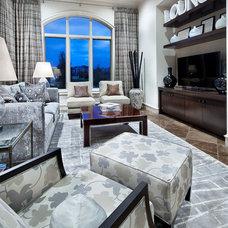 Mediterranean Family Room by JAUREGUI Architect Builder