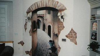 Italian Street trompe l'oeil mural