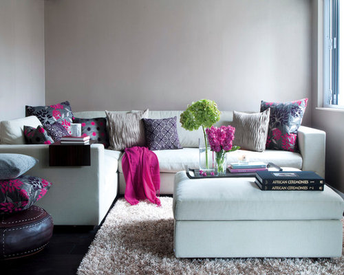 Example Of A Trendy Family Room Design In Hong Kong With Gray Walls