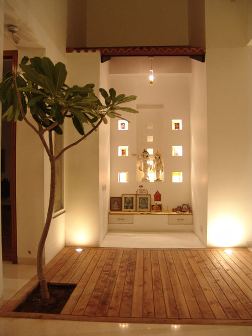 Pooja room houzz for Design of mandir in living room