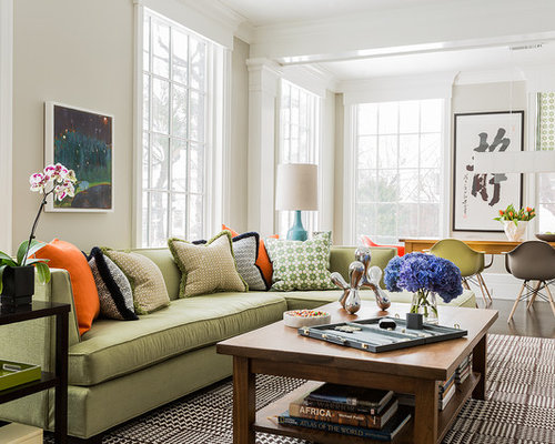 green couch houzz