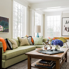 Transitional Family Room by Terrat Elms Interior Design