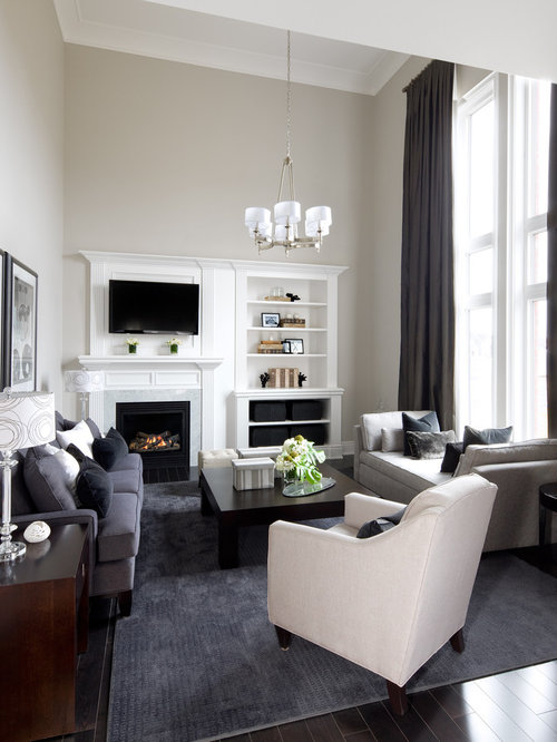 Transitional Open Concept Family Room Photo In Toronto With Gray Walls A Standard Fireplace And