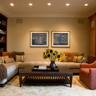 Trendy family room photo in Chicago with beige walls