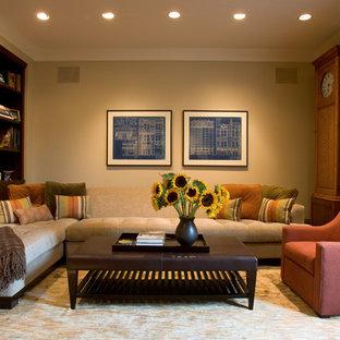 Diseño de sala de estar actual con paredes beige