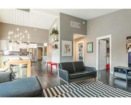 moderne wohnzimmer mit schieferboden ideen design bilder houzz. Black Bedroom Furniture Sets. Home Design Ideas