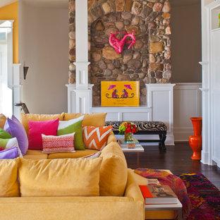 Eclectic dark wood floor family room photo in Baltimore with beige walls