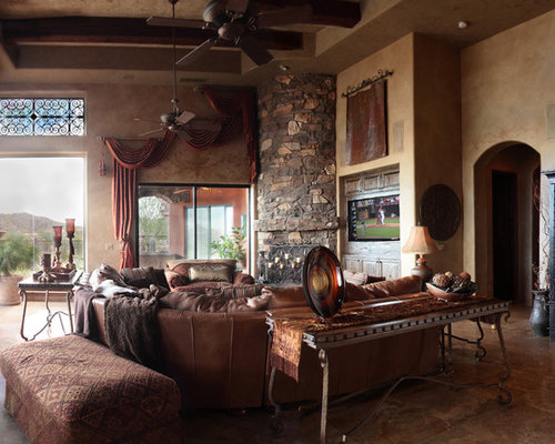 Best southwestern family room with a corner fireplace for Southwestern fireplaces