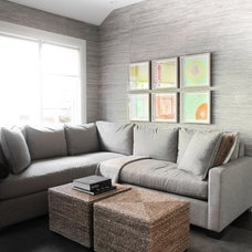 Transitional Family Room by Croma Design Inc