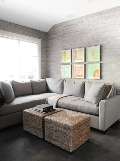Transitional Family Room by Croma Design Inc.