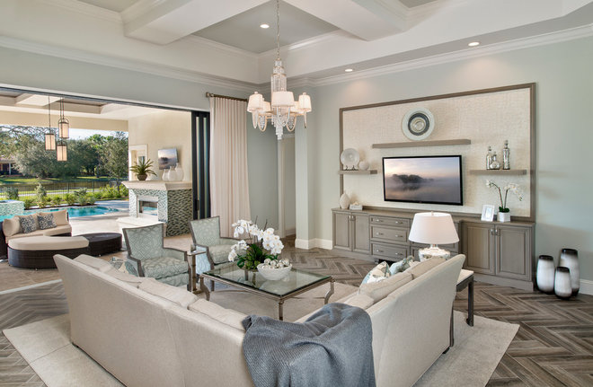 Transitional Family Room by Jinx McDonald Interior Designs