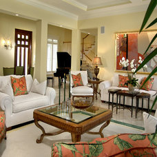 Tropical Family Room by Howard's Design Centre