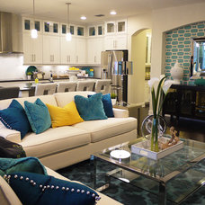 Transitional Family Room by Masterpiece Design Group