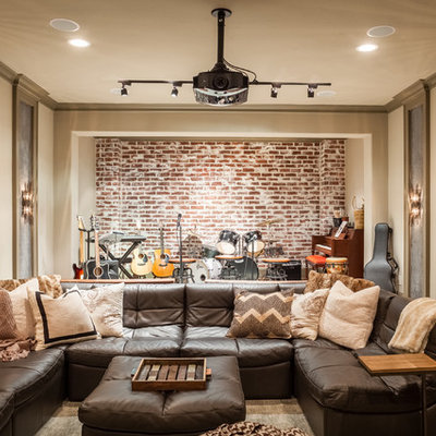 Family room - rustic enclosed family room idea in Houston with a music area and beige walls