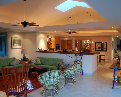 Exceptional Tropical Open Concept Family Room Idea In Hawaii With Beige Walls Part 26