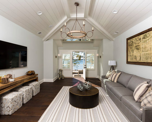 Beach Style Enclosed Dark Wood Floor And Brown Floor Family Room Idea In  Charlotte With A