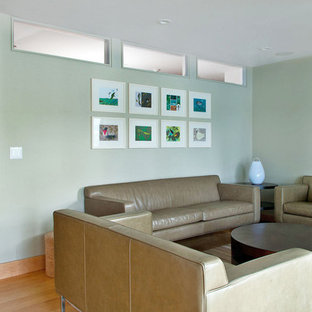 Inspiration for a modern family room remodel in New York