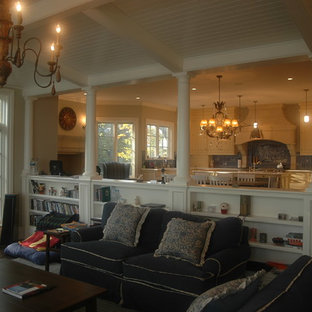 Example of a classic family room design in Chicago