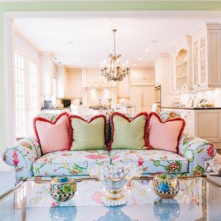 Elegant family room photo in Detroit
