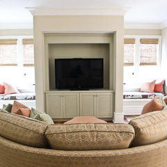 eclectic media room by Margaret Donaldson Interiors