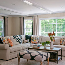 Beach Style Family Room by Rebecca Reynolds Design -New Canaan Kitchens